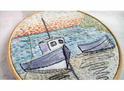 'Moored Boats' Hoop Art Hand Embroidery Kit