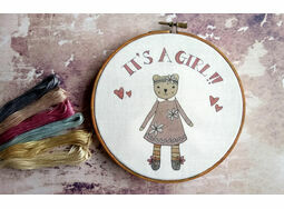 'It's a Girl!' New Baby Hoop Art Hand Embroidery Kit