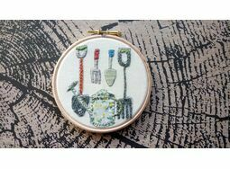 'Garden Tools' Embroidery Hoop Art