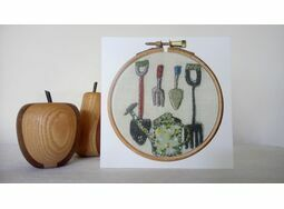 'Gardening Tools' Printed Embroidery Greetings Card