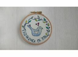 'Thinking Of You' Bird Embroidered Hoop Art