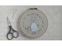 'Bunny Flower Girl' Embroidered Hoop Art