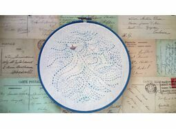 'Boat In Stormy Seas' Embroidered Hoop Art