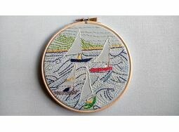 'Messing About In Boats' Embroidered Hoop Art