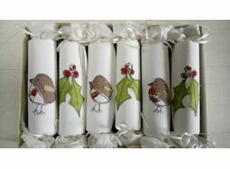 Christmas Cracker Box set of 6 Robin and Holly Embroidered Set