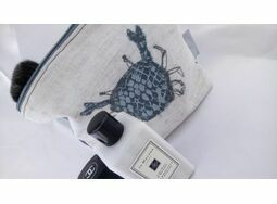 Embroidered Crab Make Up Bag