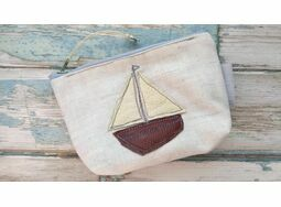 Embroidered Leather Sailboat Coin Purse