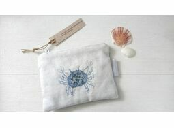 Coin Purse featuring embroidered crab