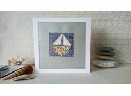 \'Sail Boat\' Handmade Embroidery Greetings Card