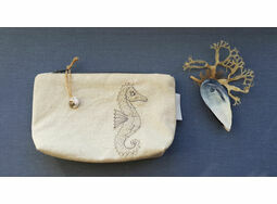 Embroidered Seahorse Make Up Bag