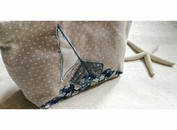 Embroidered Sailboat Compact Cosmetic Make Up Bag