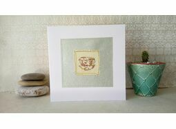 'Cute Teacup' Handmade Embroidery Greetings Card
