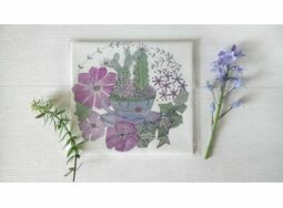 'Teacup & Succulents' Floral Linen Panel Embroidery Pattern