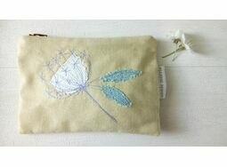 Embroidered \'Ammi Flower\' Pale Yellow Linen Purse