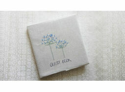 Agapanthus Floral Embroidered Guest Book