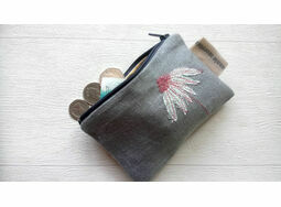 Embroidered Echinacea Coin Purse