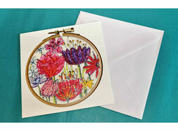 Flowers Design Printed Embroidery Greetings Card