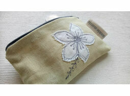Floral Yellow Linen Coin Purse