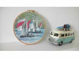 'Dartmouth Sail Boats' Hoop Art Hand Embroidery Kit
