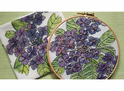 Hydrangea Linen Panel Embroidery Pattern