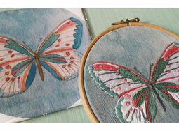 *NEW* \'Butterfly\' Linen Embroidery Panel Pre-printed pattern