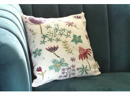Contemporary Floral Linen Embroidery Pattern - for cushion front -