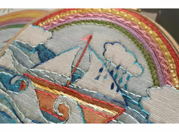 'I am not Afraid of Storms' Rainbow Linen Embroidery pattern - charity fund raiser -