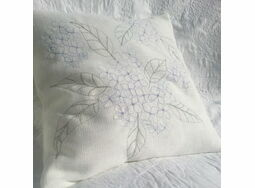 'Hydrangea' Floral Embroidered Cushion