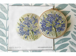 *NEW* Agapanthus Hand Embroidery Pattern, Linen Panel