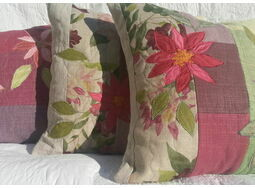 Embroidered Appliqued Flower Cushions