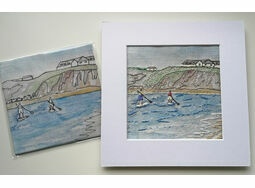 *NEW* 'Paddleboarders in Thurlestone' Linen embroidery panel