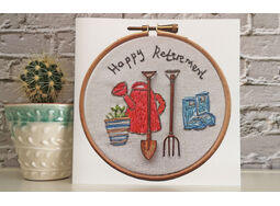 *NEW* Happy Retirement gardening tools printed greeting card