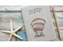 Shell Embroidered Sketchbook presented in our kraft gift box