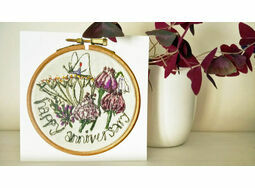 'Happy Anniversary' Printed Embroidery Greetings Card