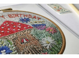 'Happy Birthday' Fairy House Printed Embroidery Greetings Card