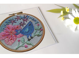 'Happy Birthday' Birdy Printed Embroidery Greetings Card