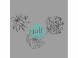 \'Poppies & Agapanthus\' Floral PDF Embroidery Pattern