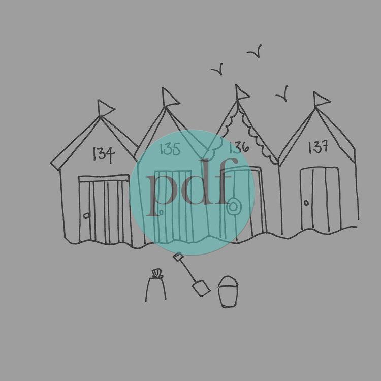 Beach Hut Machine Embroidery Design: 'Beach Huts' PDF Embroidery Pattern Only £6.00