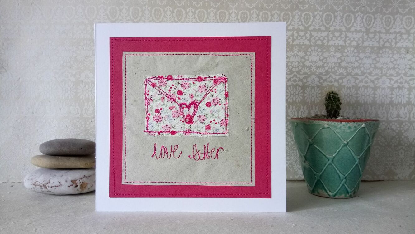 Love Letter Handmade Embroidery Greetings Card Only 600