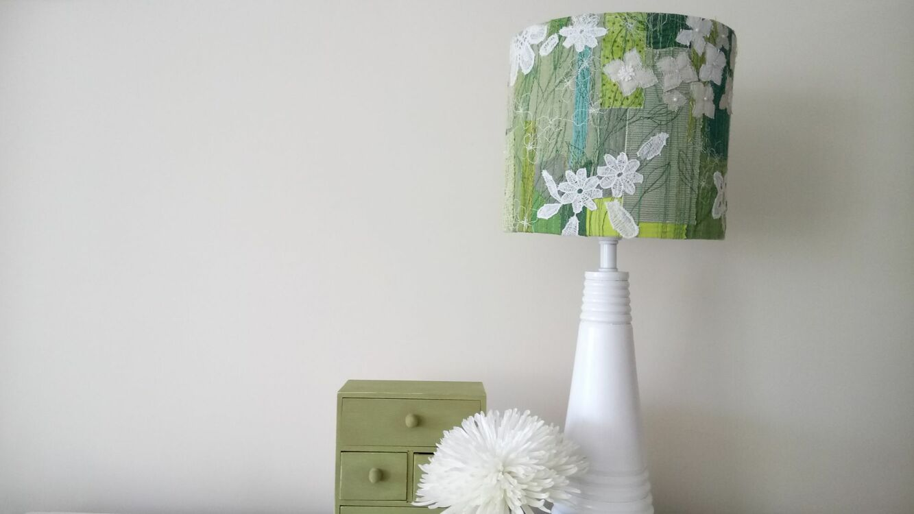 Green and white flower embroidered lampshade only 9500 green and white flower embroidered lampshade additional 1 mozeypictures Choice Image