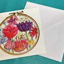 Flowers Design Printed Embroidery Greetings Card additional 1