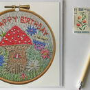 \'Happy Birthday\' Fairy House Toadstool Printed Embroidery Greetings Card additional 2