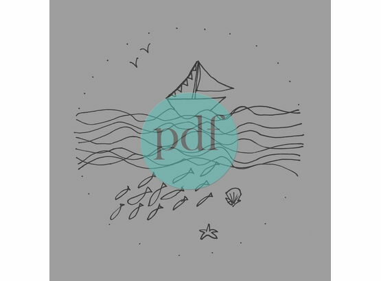 'Boat & School Of Fish' PDF Embroidery Pattern