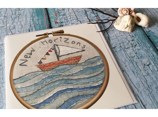 'New Horizons' Printed Embroidery Greetings Card