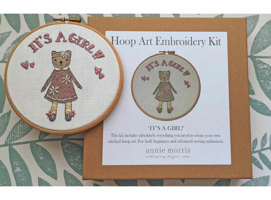 \'It\'s a Girl!\' New Baby Hoop Art Hand Embroidery Kit