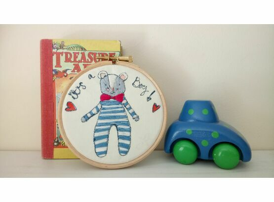 'It's a Boy!' New Baby Embroidered Hoop Art