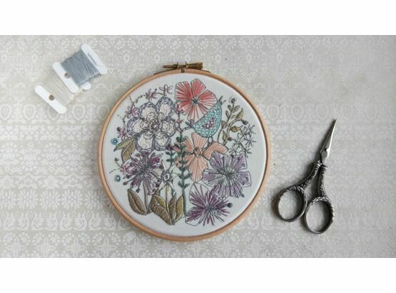 'Birdsong' Floral Embroidered Hoop Art