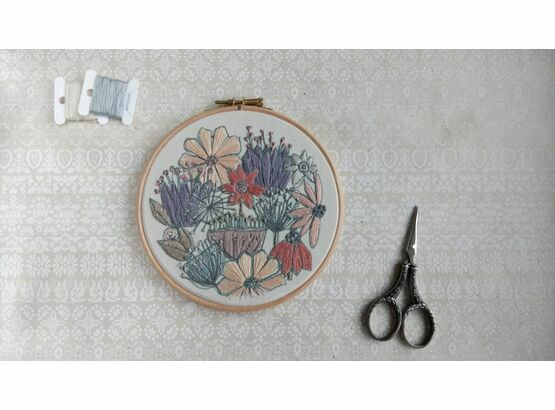 'Blooms' Floral Embroidery Hoop Art