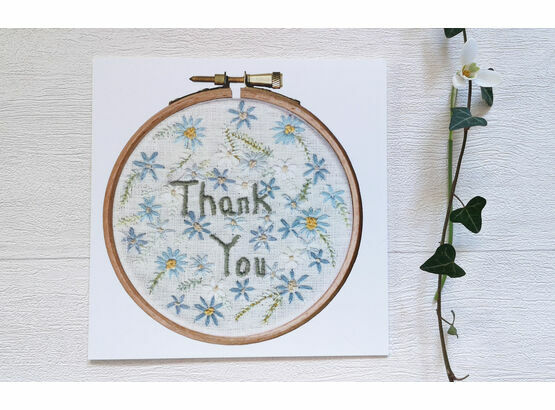 \'Thank You\' Floral Printed Embroidery Greetings Card