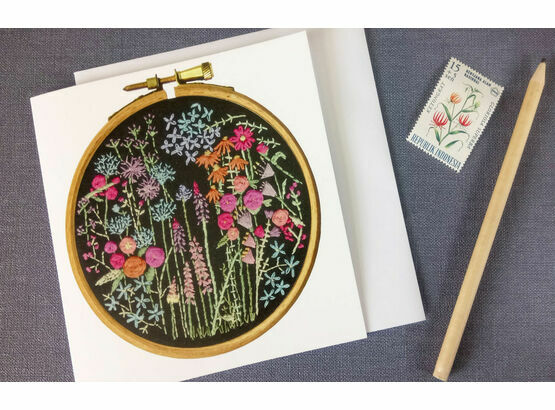 Summer Meadow Printed Embroidery Greetings Card